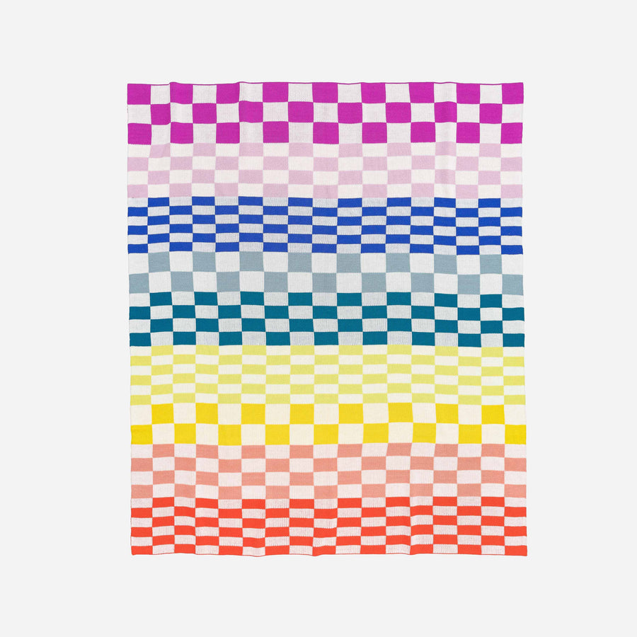 Rainbow | Albers Checkerboard Knit Throw Blanket
