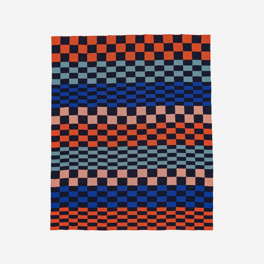 Navy Red | Albers Checkerboard Knit Throw Blanket
