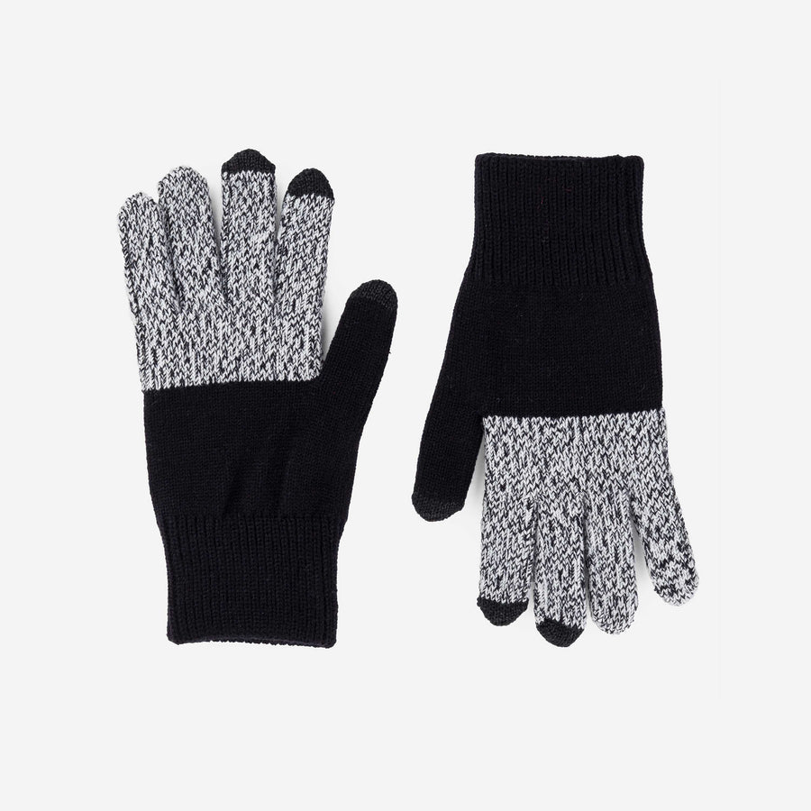 Black Marl | Touchscreen Knit Gloves Classic Stretch Color Block