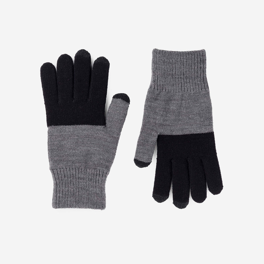 Black Grey | Classic touchscreen gloves colorblock stretch