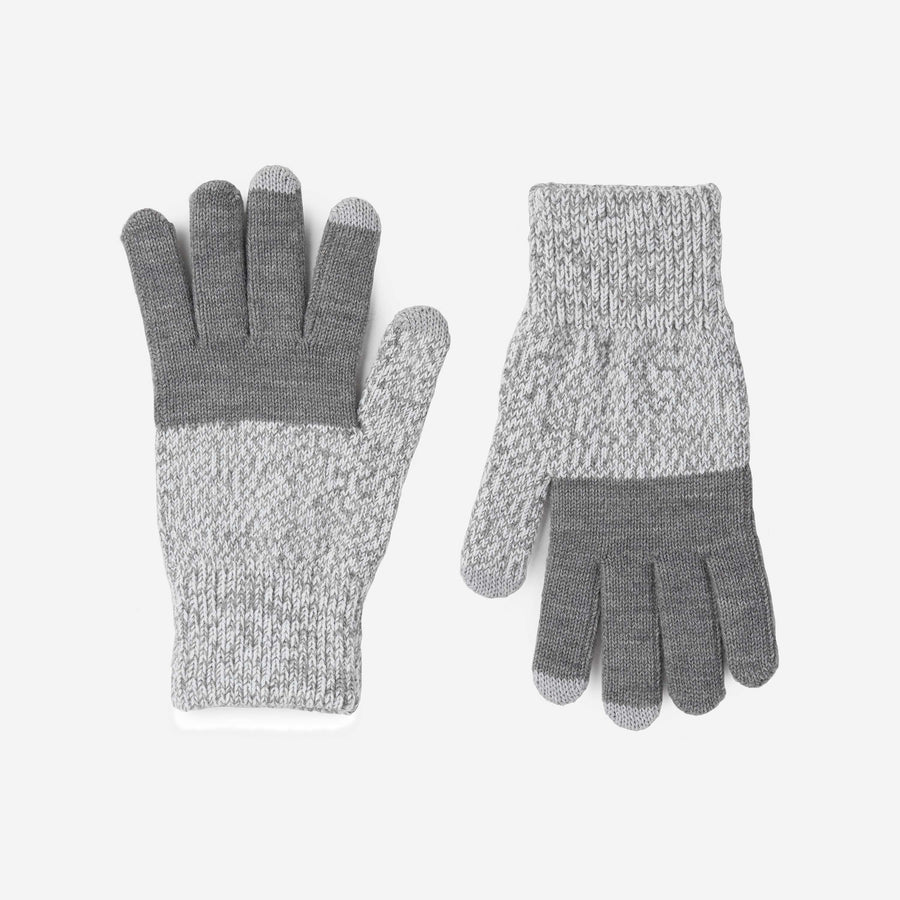 Grey | Colorblock Touchscreen Stretch Gloves Knit