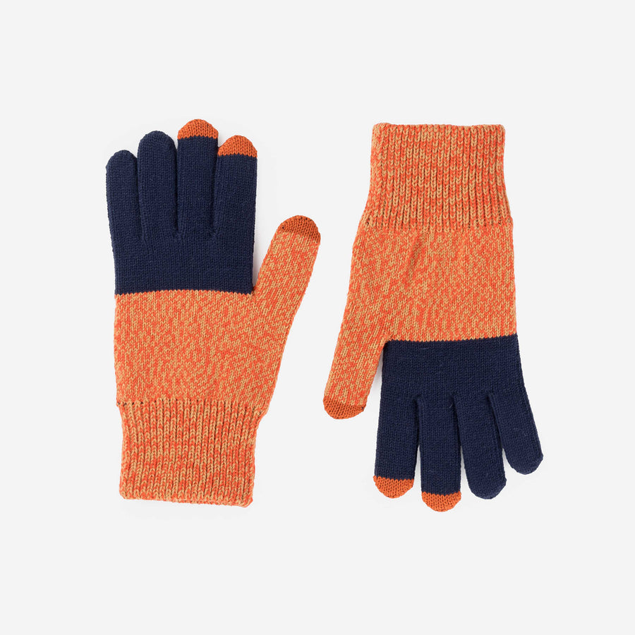 Navy Poppy Marl | Touchscreen Knit Gloves Classic Stretch Color Block