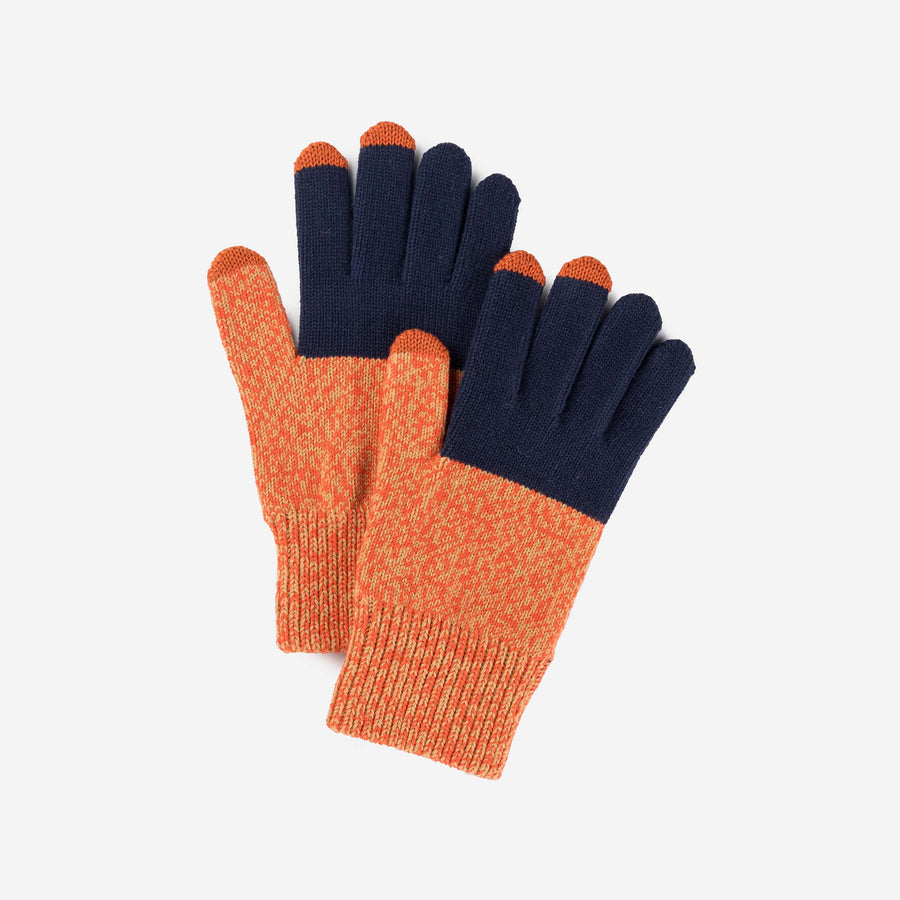 Navy Poppy Marl | Touchscreen Knit Gloves Classic Stretch Colorblock