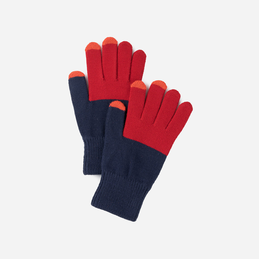 Navy Red | Colorblock Touchscreen Stretch Gloves Knit