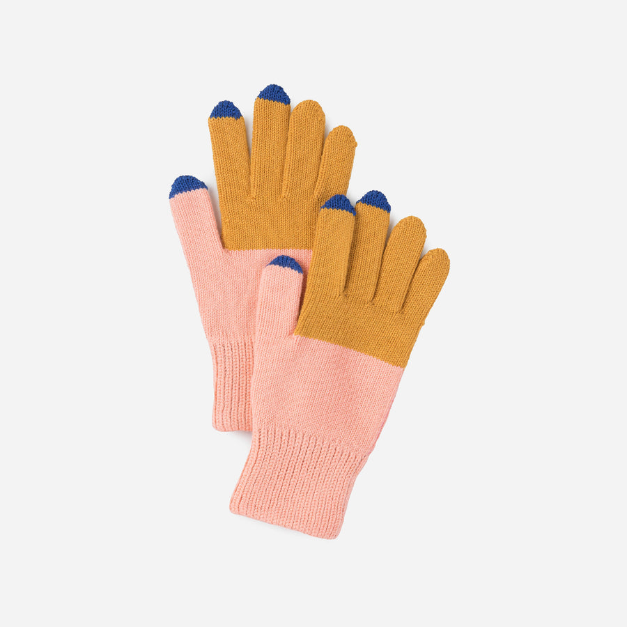 Yellow Pink | Colorblock Touchscreen Stretch Gloves Knit