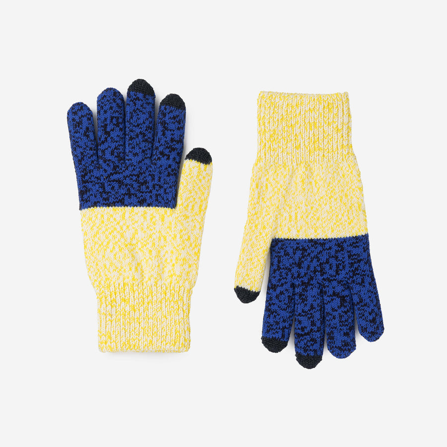 Yellow Navy | Colorblock Touchscreen Stretch Gloves Knit