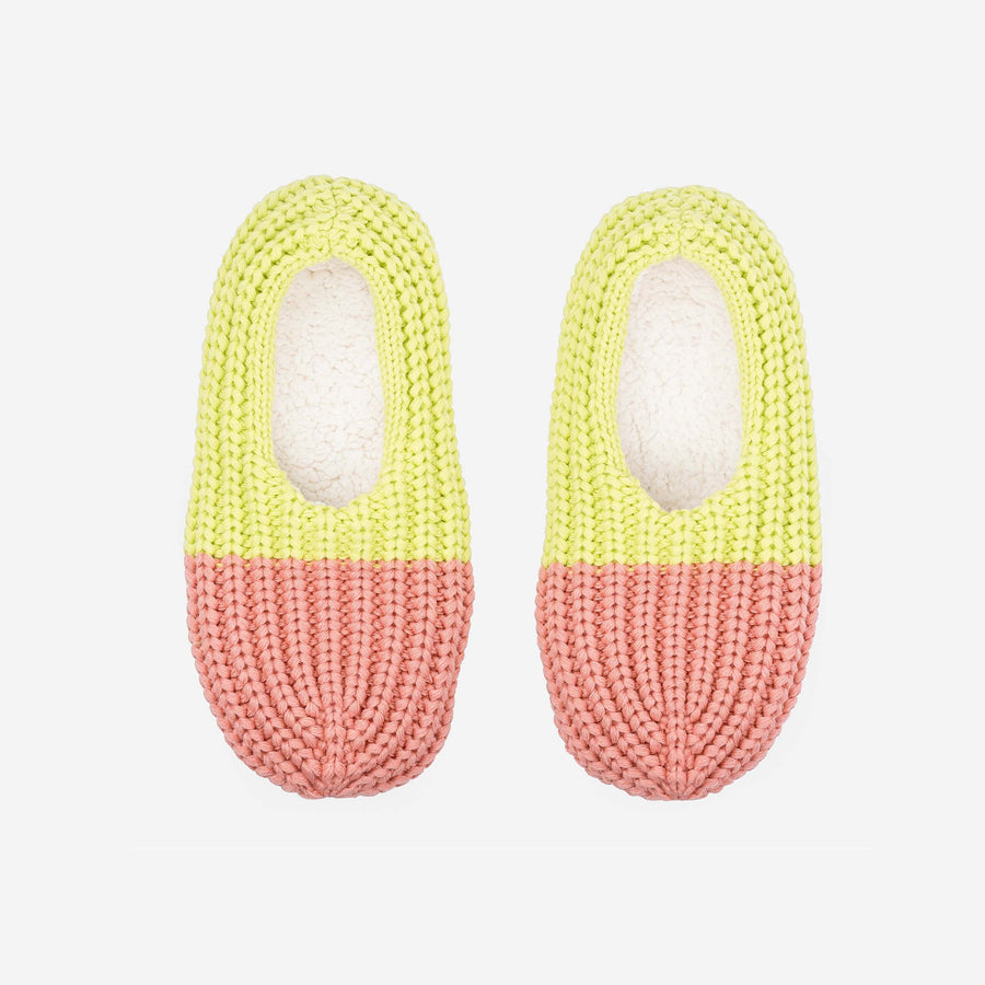 Pink Lime | Colorblock Rib Knit Slippers Loungers