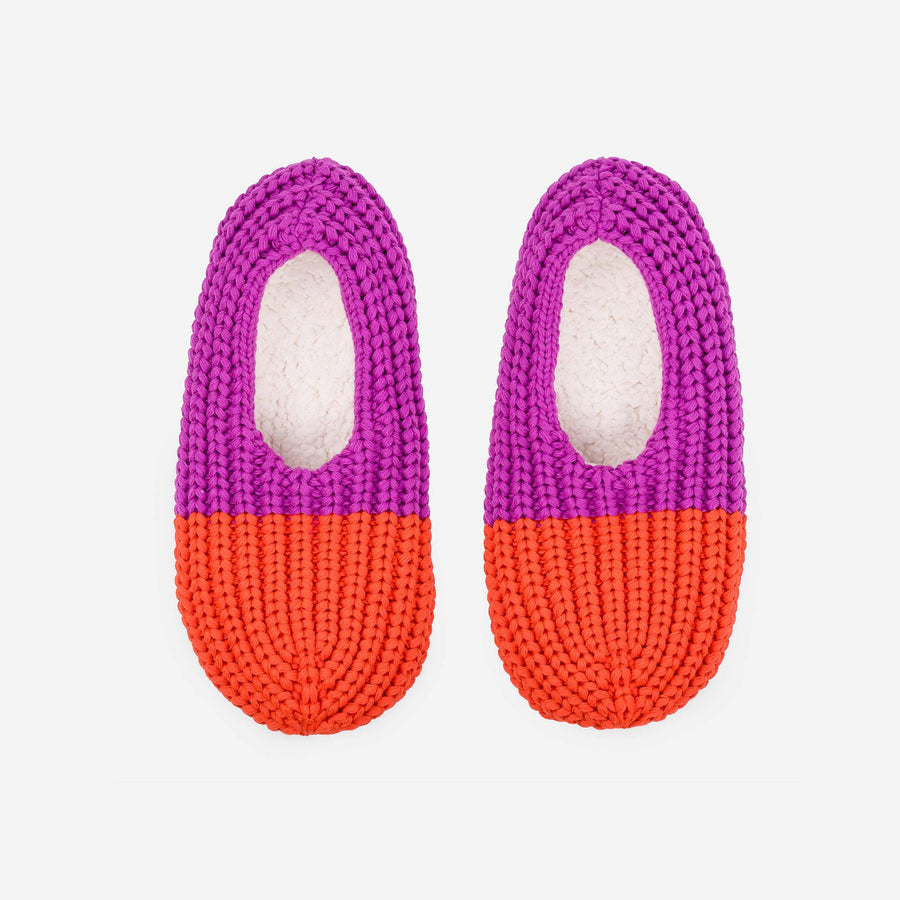 Poppy Magenta | Colorblock Rib Knit Slippers Loungers