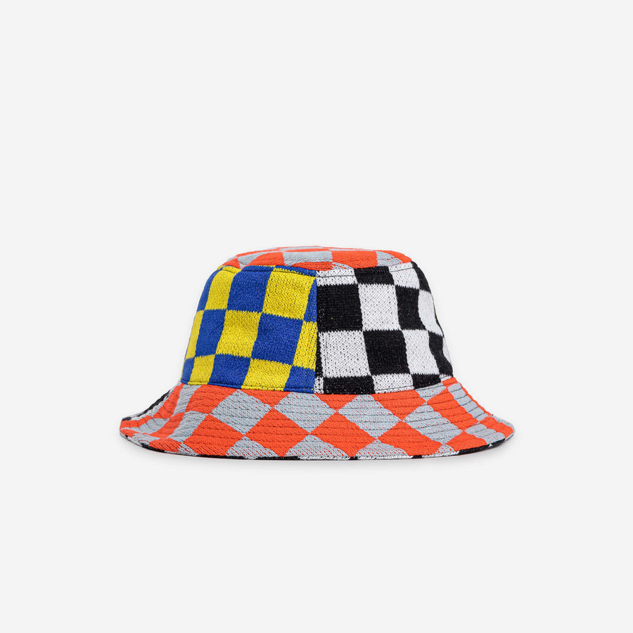 Fuchsia Coral Flame | Checkerboard Patchwork Bucket Hat