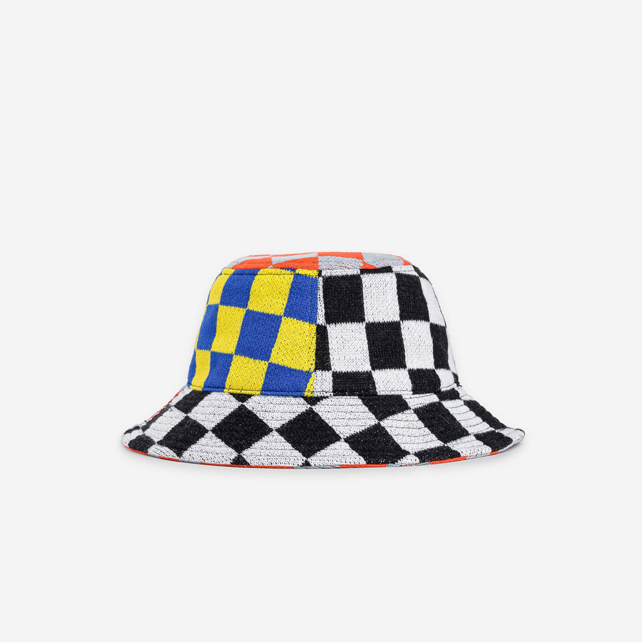 Black White Yellow | Checkerboard Patchwork Bucket Hat