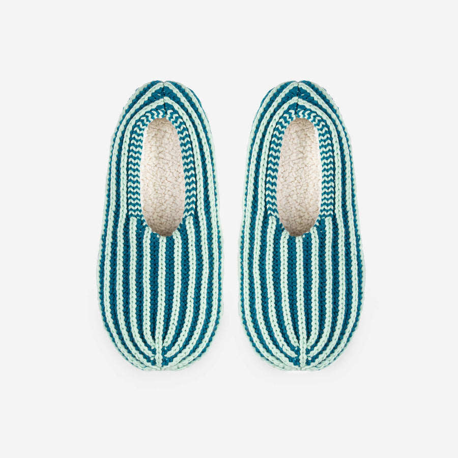 Jade Teal | Chunky Rib Stripe Slippers