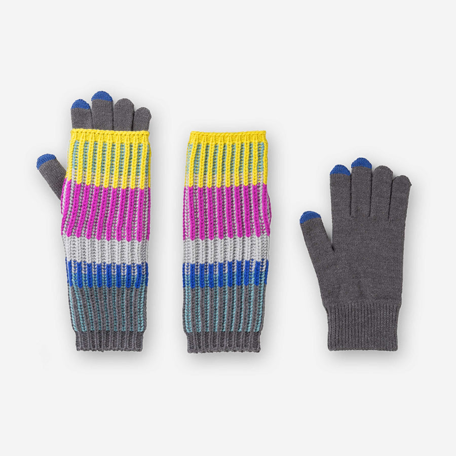 Magenta | Removable Armwarmer Glove Chunky Touchscreen Rib Stripe