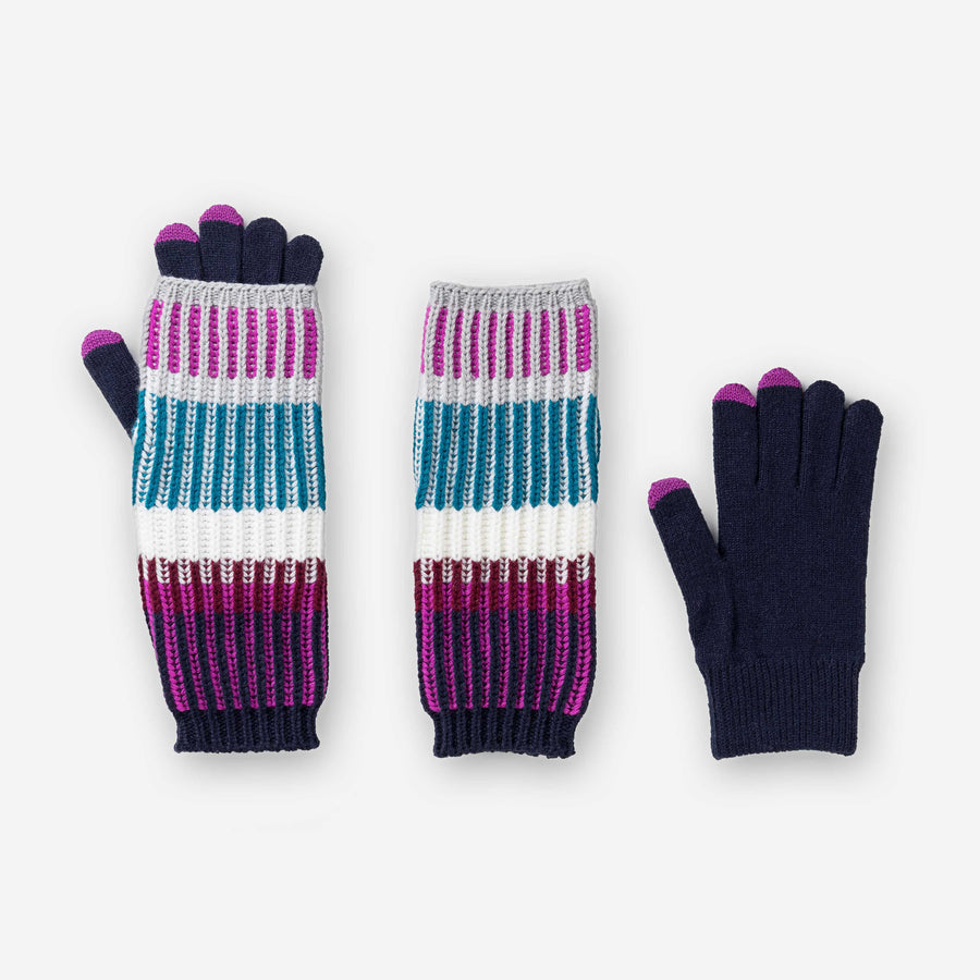 Teal | Removable Armwarmer Glove Chunky Touchscreen Rib Stripe