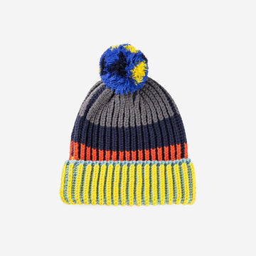 Yellow Navy | Chunky Rib Pom Hat