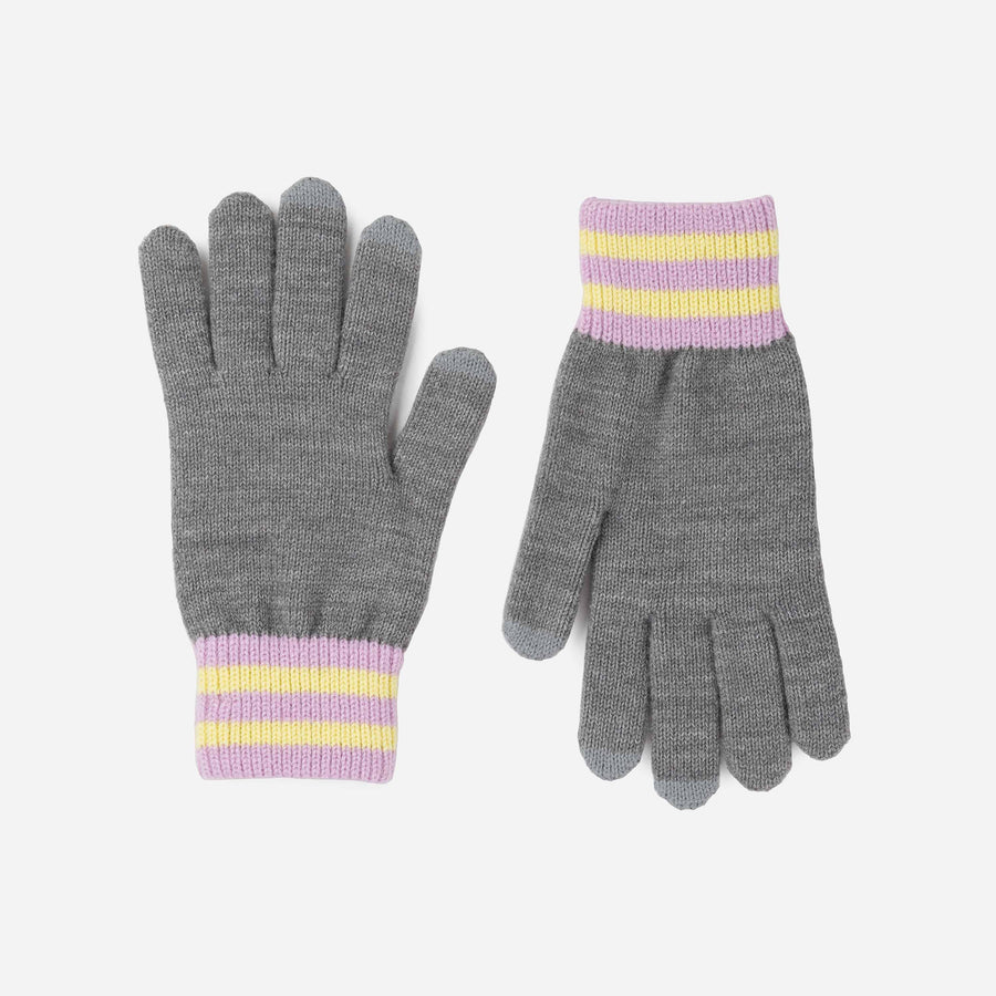 Grey | Sporty Stripe Touchscreen Gloves Solid Color