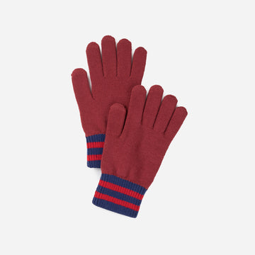 Wine Red | Sporty Stripe Touchscreen Gloves Solid Color