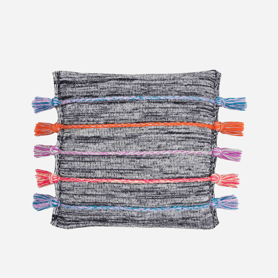 Black Marl | Corded Tassel Pillow Repurposed