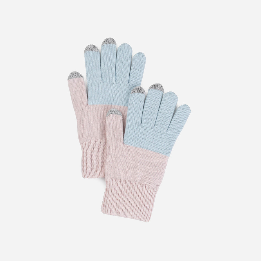 Pastels | Colorblock Touchscreen Stretch Gloves Knit