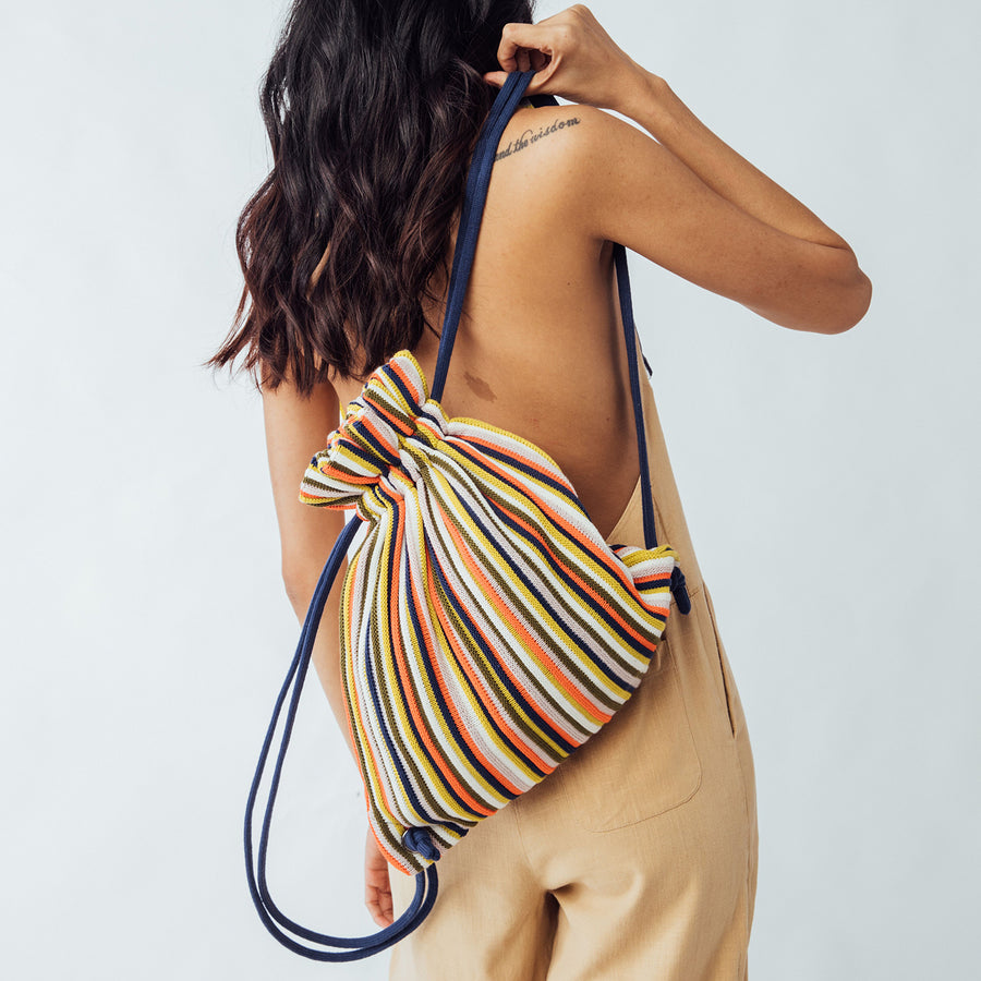 Rib Drawstring Backpack
