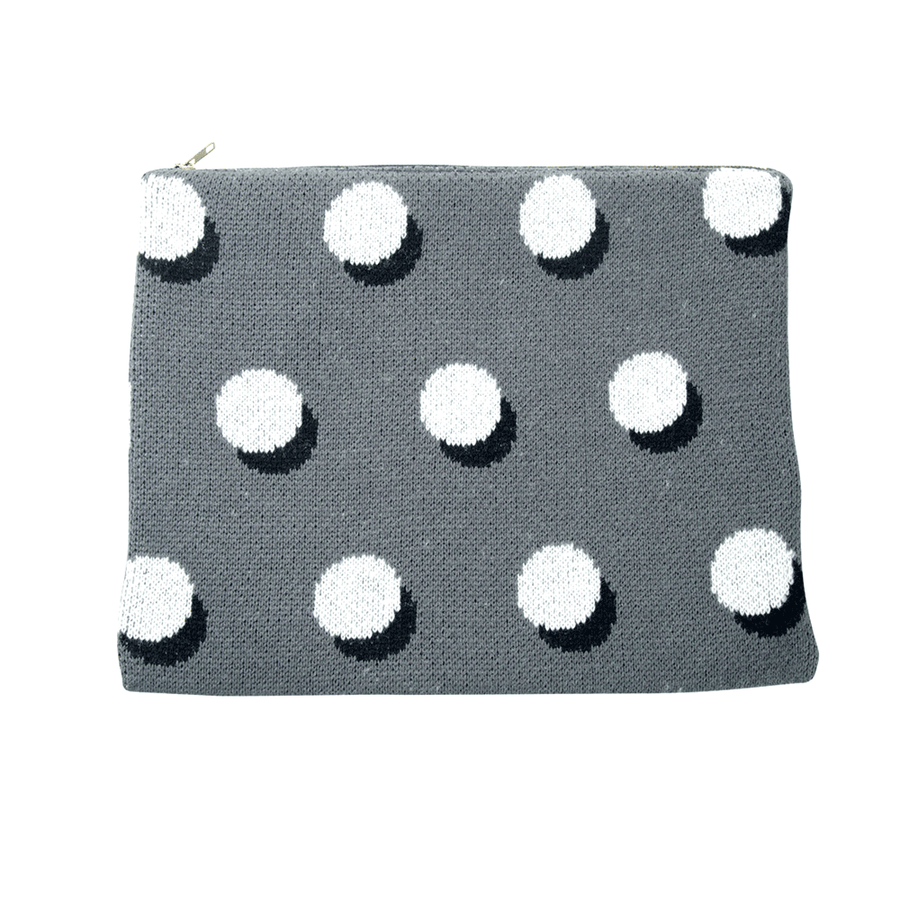 Grey | Eclipse Knit Zip Pouch Repurposed