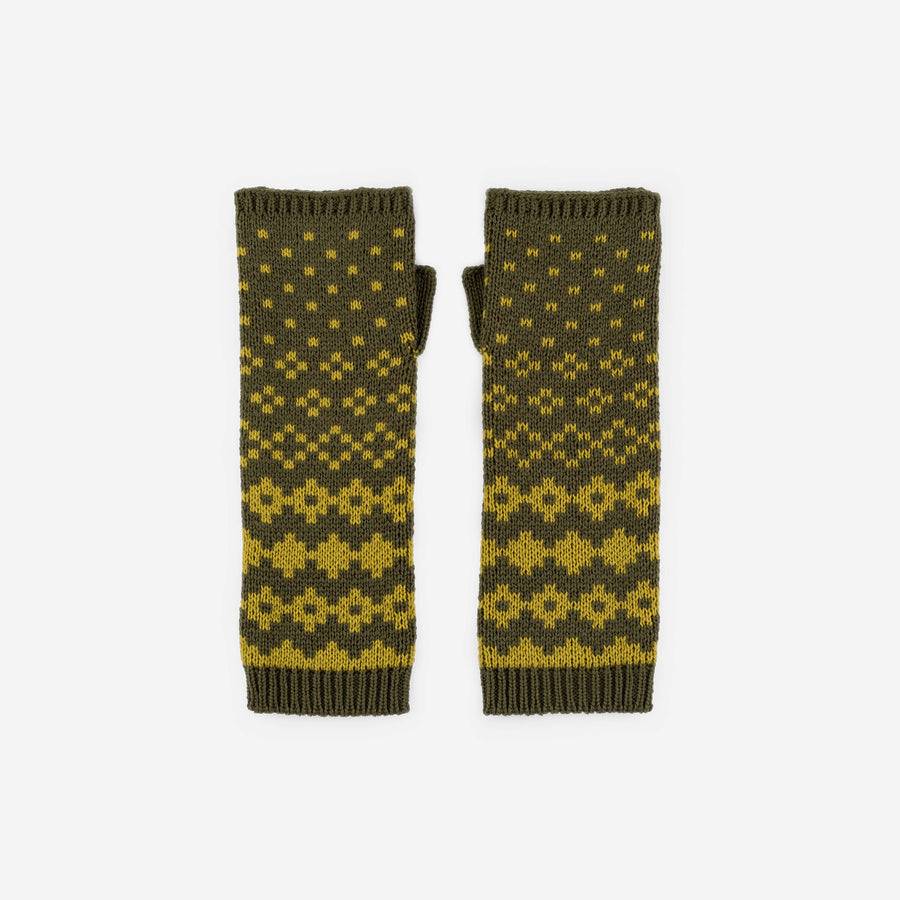 Olive Yellow | Fair Isle Armwarmers