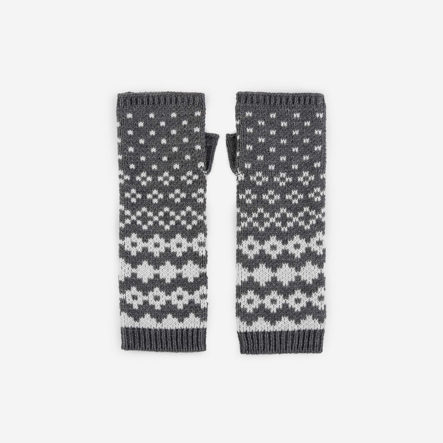 Grey | Fairisle Pattern Armwarmer Long