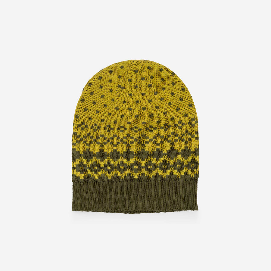 Olive Yellow | Fair Isle Slouchy Hat Beanie