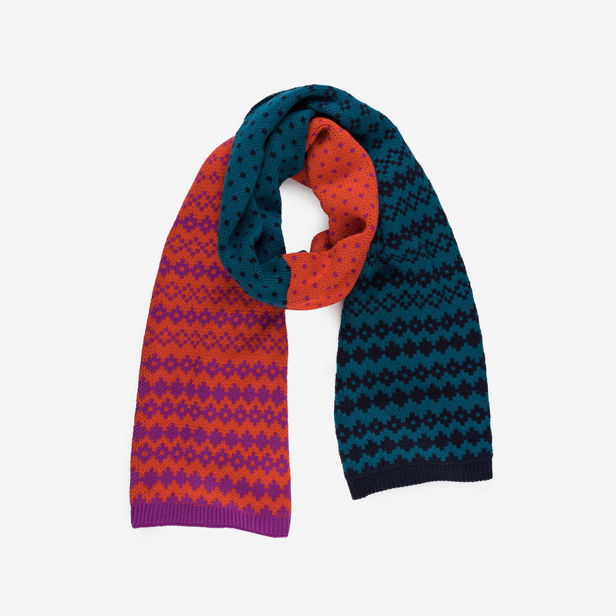 Fair Isle Colorblock Scarf