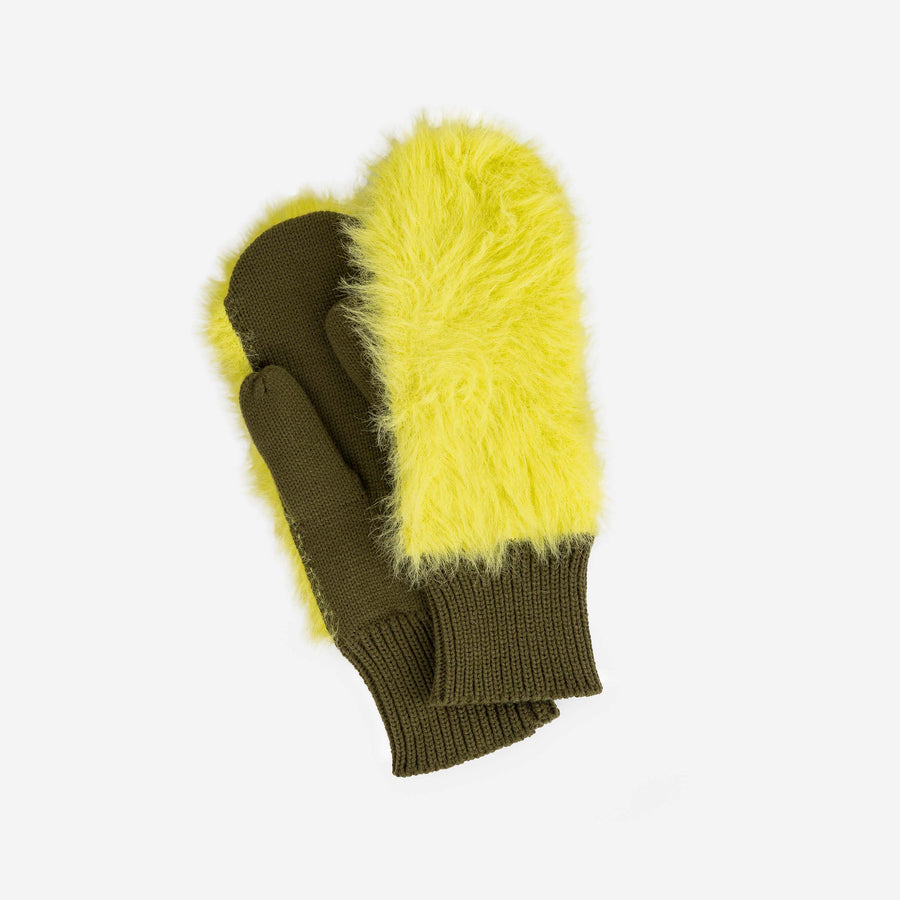 Moss | Fur Mittens Colorblock