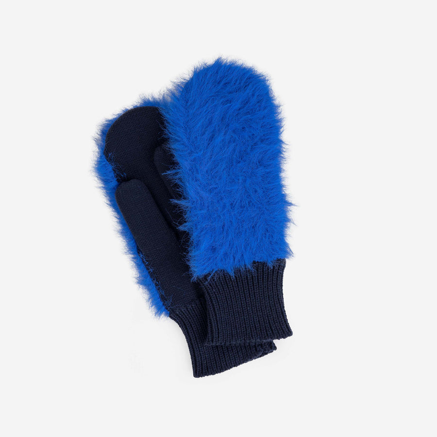 Navy | Fur Mittens Colorblock