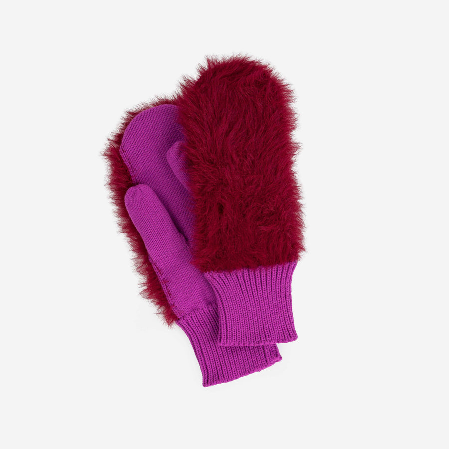 Wine Red | Fur Mittens Colorblock