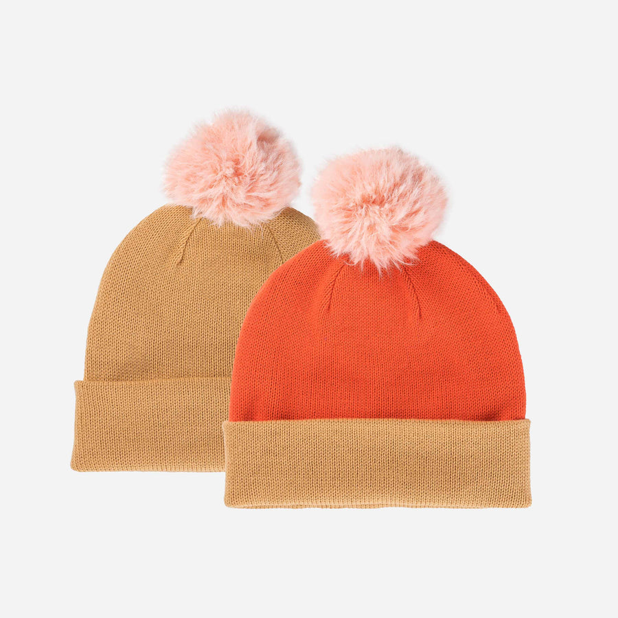 Camel | Reversible Hat Removable Pom Colorblock Knit Faux Fur
