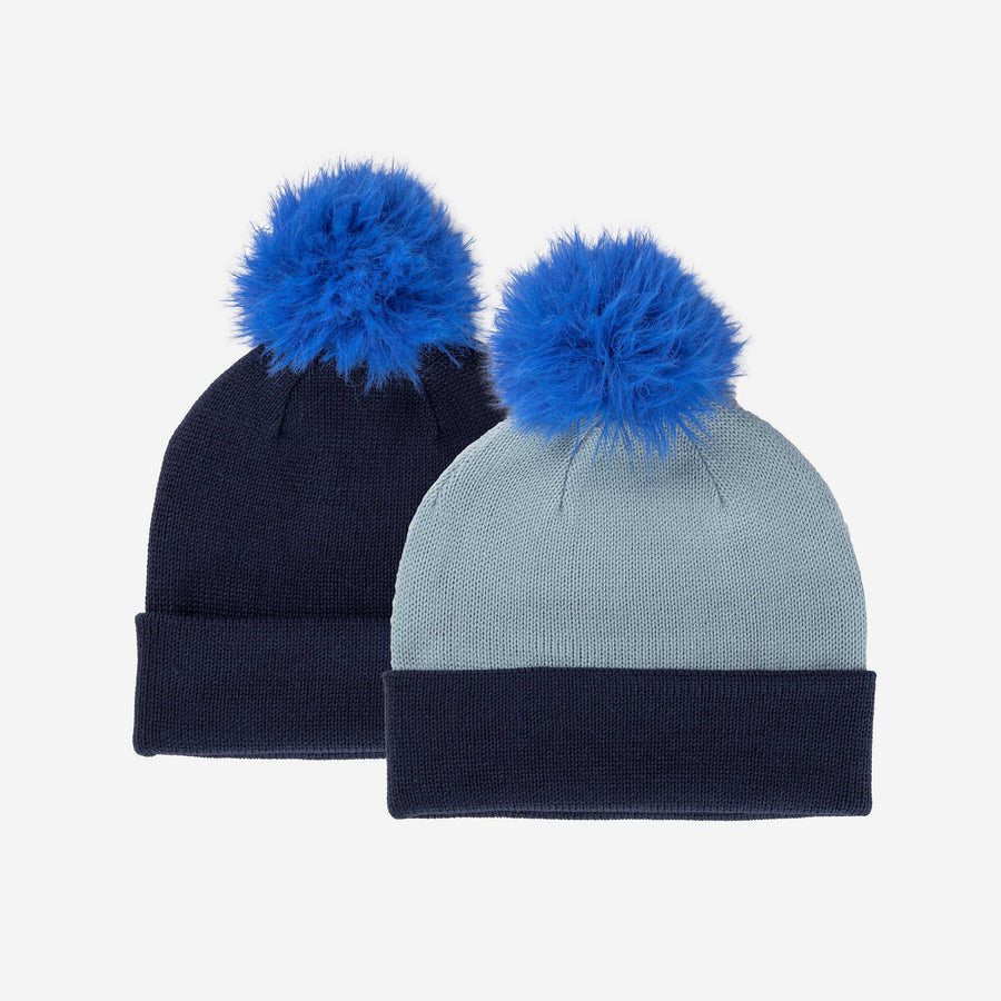Navy | Reversible Hat Removable Pom Colorblock Knit Faux Fur