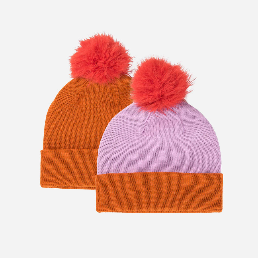 Poppy | Reversible Hat Removable Pom Colorblock Knit Faux Fur