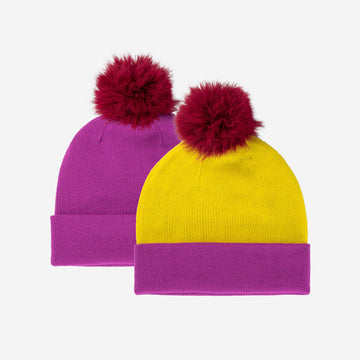 Wine Red | Reversible Hat Removable Pom Colorblock Knit Faux Fur