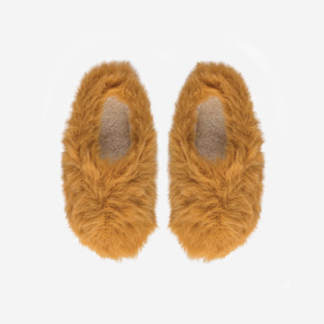 Camel | Faux Fur Knit Slippers