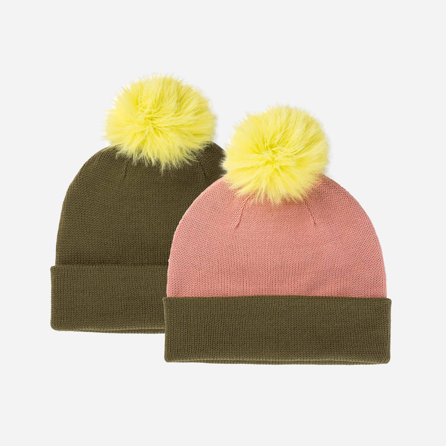 Moss | Reversible Hat Removable Pom Colorblock Knit Faux Fur