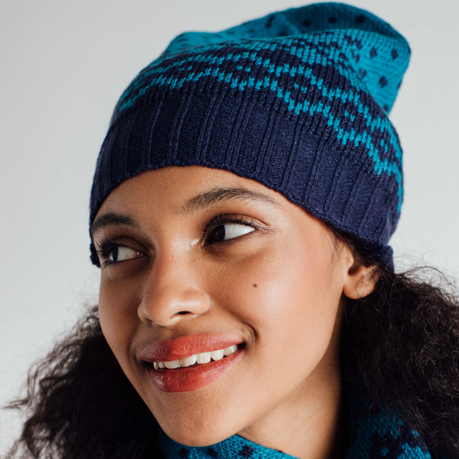 Teal | Fair Isle Slouchy Hat Beanie