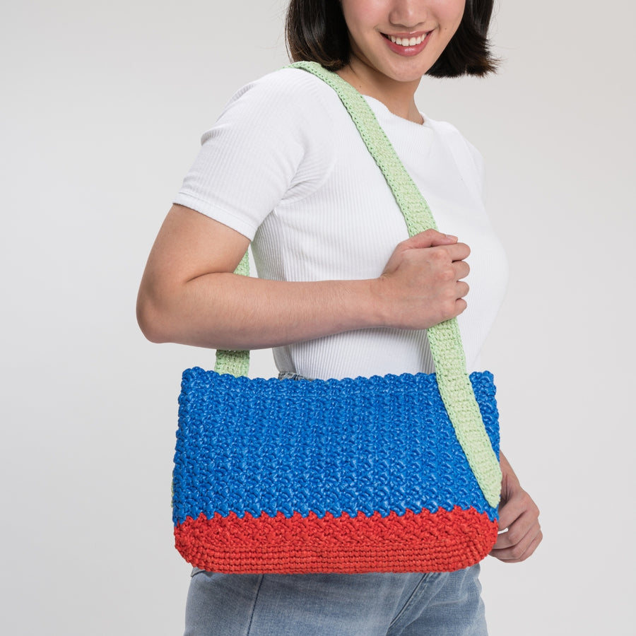 Cobalt Red | Colorblock Crochet Shoulder Bag