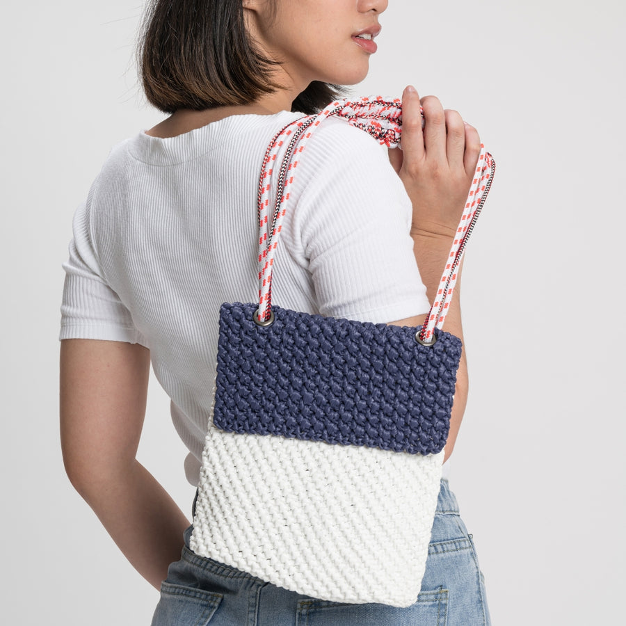 Navy White | Favela Colorblock Mini Satchel