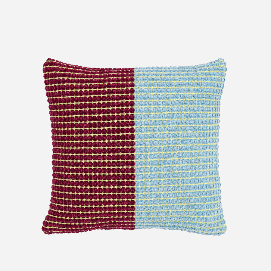 Wine Red | Grid Pillow Case Chenille Repurposed Upcycle Deadstock