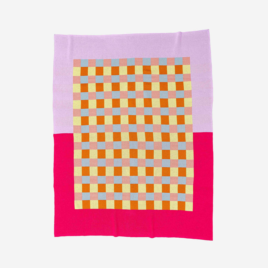 Cobalt Pink | Gingham Checkerboard Throw