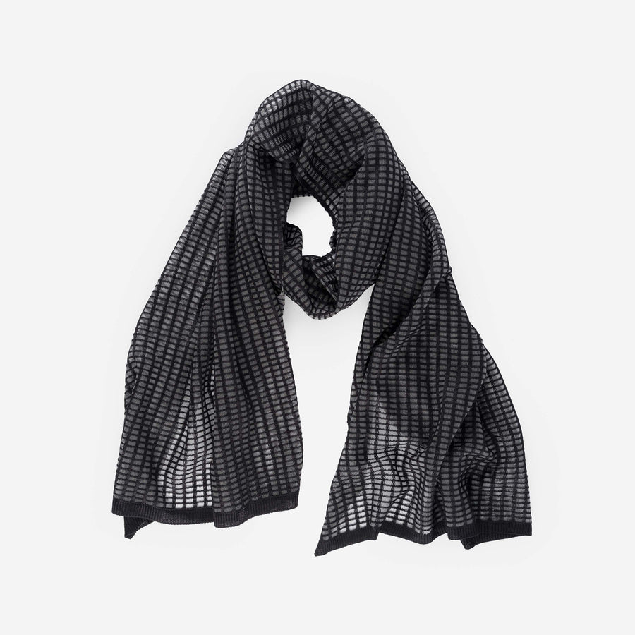 Black | Grid Scarf See Through Transparent