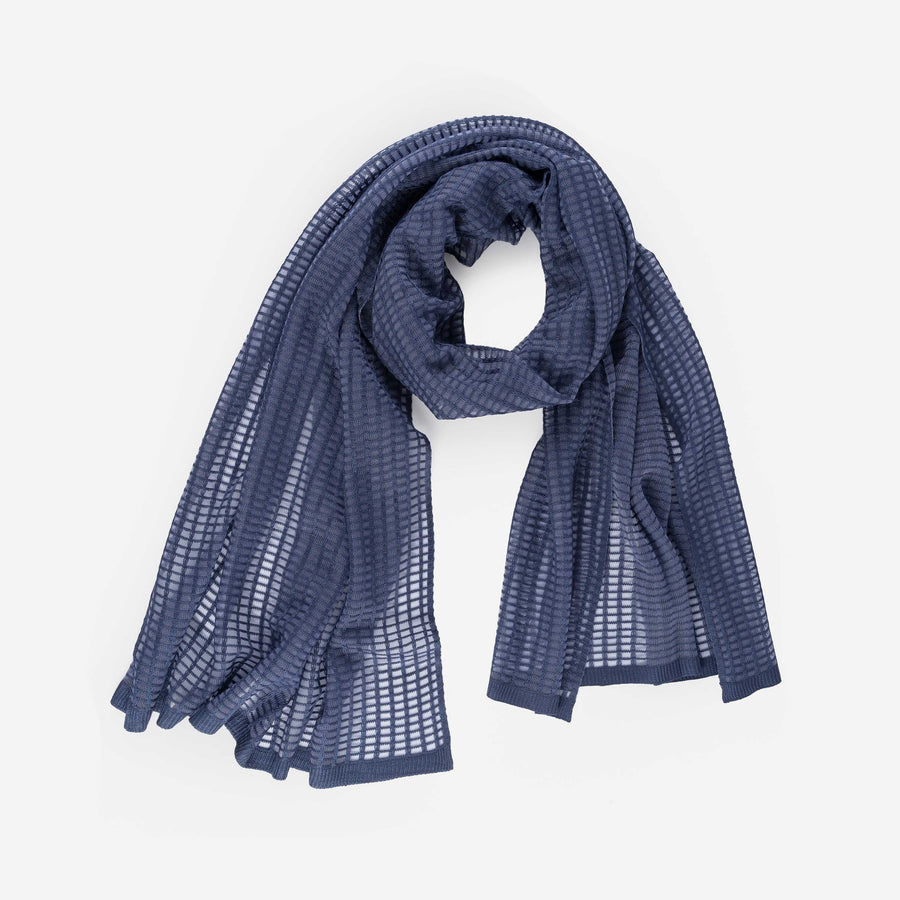 Navy | Grid Scarf See Through Transparent