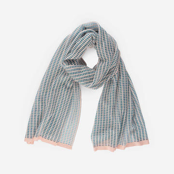 Mineral Pink | Grid Scarf See Through Transparent