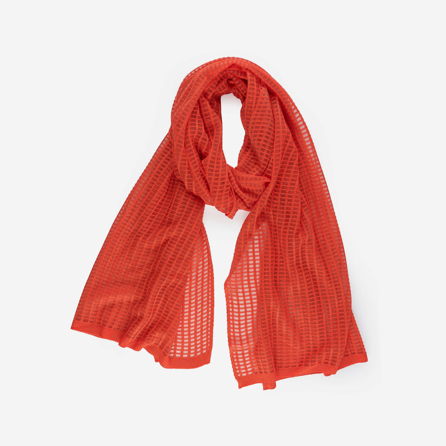 Red | Grid Scarf See Through Transparent