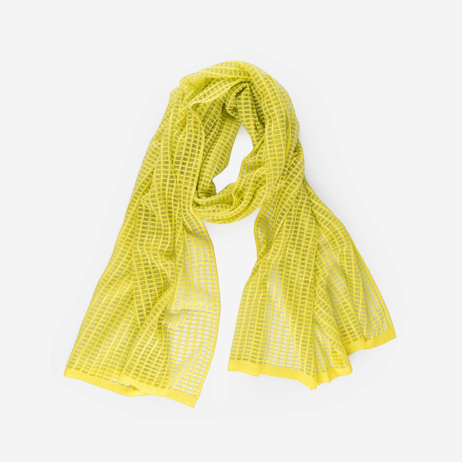 Yellow | Grid Scarf See Through Transparent