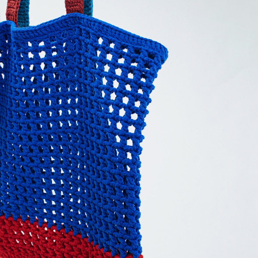Blue | Grid Knot Macrame Beach Bag
