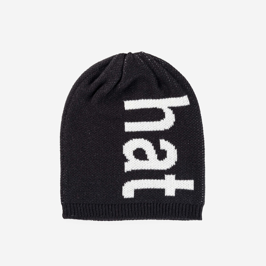 Black | Hat Hat Letters Block Knit Typography Knit