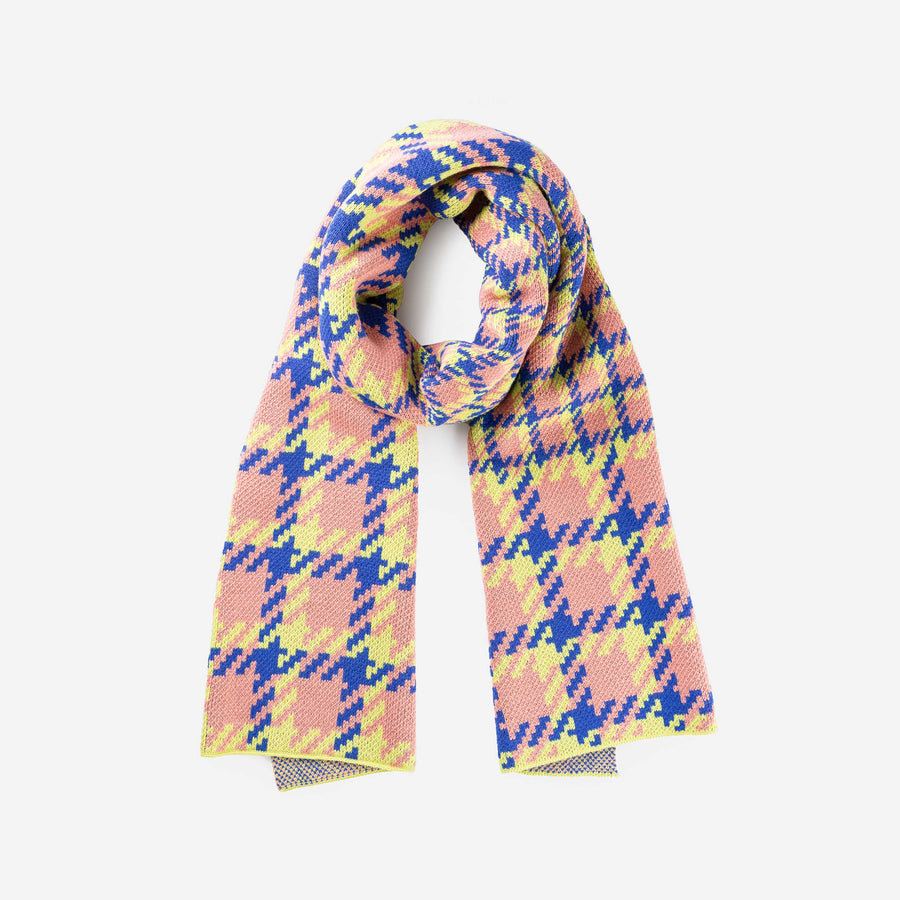 Pink | Houndstooth Scarf Graphic Jacquard Scarf